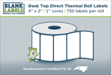 "4"" x 2"" Direct Thermal Desk Top Blank Labels for Zebra"