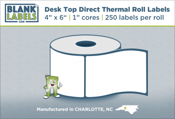 "4"" x 6"" Direct Thermal Desk Top Blank Labels for Zebra"