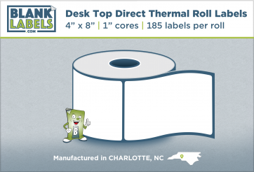 "4"" x 8"" Direct Thermal Desk Top Blank Labels for Zebra"