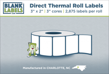 """3"""" x 2"""" Direct Thermal Blank Labels on 3"""" Cores"""