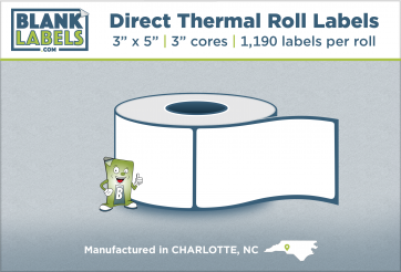 """3"""" x 5"""" Direct Thermal Blank Labels on 3"""" Cores"""