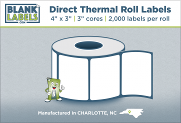 """4"""" x 3"""" Direct Thermal Blank Labels on 3"""" Cores"""