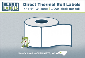 "4"" x 6"" Direct Thermal Blank Labels 3"" Cores"