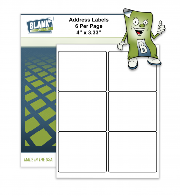 "6 Labels Per Sheet - 4"" x 3.33"""