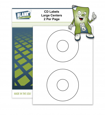 2 CD / DVD Labels per Page - Large Centers - Compatible with Avery 5824