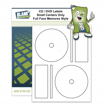 2 CD / DVD Labels per Page - Full Face Small Core - Memorex Style