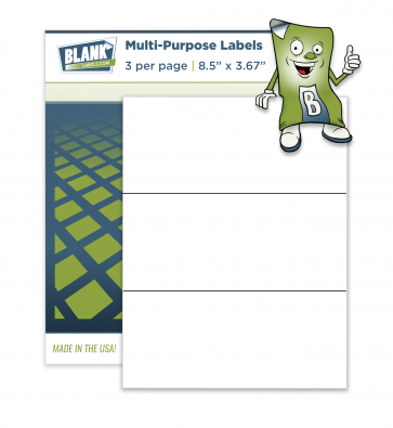 "3 Horizontal Labels Per Sheet - 8.5"" x 3.67"""