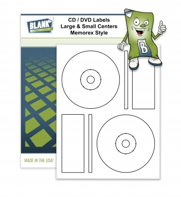 2 CD / DVD Labels per Page - Multiple Centers -  Compatible with Memorex® Full Core Style