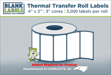 "4"" x 2"" Thermal Transfer Labels on 3"" Cores"