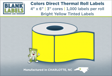 "4"" x 6"" Pastel Colors Direct Thermal Labels on 3"" Cores"
