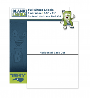 BL001-HC - Full Sheet Labels with Horizontal Back Cut