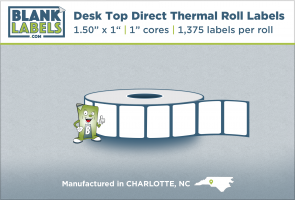 "1.50"" x 1"" Direct Thermal Blank Roll Labels for Zebra"