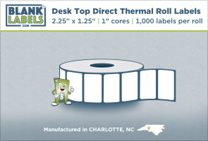 "2.25"" x 1.25"" Direct Thermal Desk Top Blank labels for zebra"