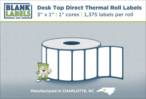 "3"" x 1"" Direct Thermal Labels Desk Top for Zebra"
