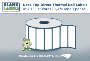 "4"" x 1"" Direct Thermal Desk Top Blank Labels for Zebra"