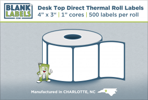 "4"" x 3"" Desk Top Direct Thermal Labels for Zebra"