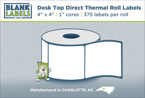 "4"" x 4"" Direct Thermal Desk Top Blank Labels for Zebra"