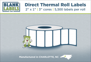 "2"" x 1"" Direct Thermal Blank Labels on 3"" Cores"