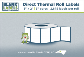 "3"" x 2"" Direct Thermal Blank Labels on 3"" Cores"