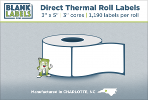 "3"" x 5"" Direct Thermal Blank Labels on 3"" Cores"