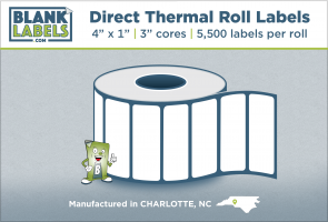 "4"" x 1"" Direct Thermal Blank Labels on 3"" Cores"
