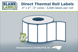 "4"" x 2"" Direct Thermal Blank Labels on 3"" Cores"