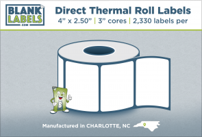 "4"" x 2.50"" Direct Thermal Blank Labels on 3"" Cores"