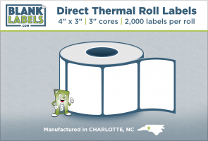 "4"" x 3"" Direct Thermal Blank Labels on 3"" Cores"