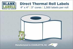 "4"" x 4"" Direct Thermal Blank Labels on 3"" Cores"