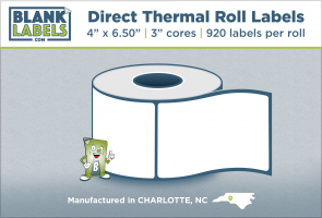 "4"" x 6.50"" Direct Thermal Blank Labels on 3"" Cores"