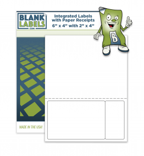 "Integrated Blank Labels Sheets - 6"" x 4"" with Tab Label 2"" x 4"""