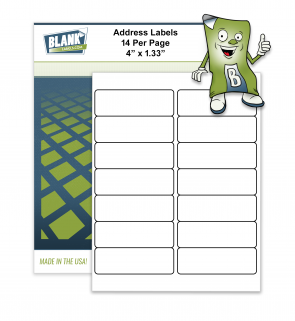 14 Labels per Page 4 x 1.33 Compatible with Avery 5162