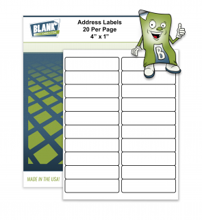 20 Labels per Sheet - 4 x 1 Compatible with Avery 5161