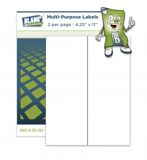 "2 Vertical Labels Per Sheet - 4.25"" x 11"""