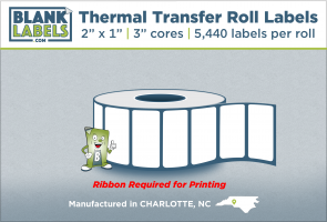 "2"" x 1"" Thermal Transfer Labels on 3"" Cores"
