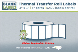 "3"" x 1"" Thermal Transfer Labels on 3"" Cores"