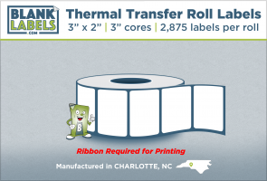 "3"" x 2"" Thermal Transfer Labels on 3"" Cores"