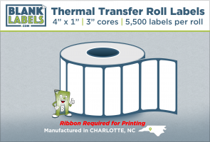 "4"" x 1"" Thermal Transfer Labels on 3"" Cores"