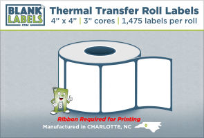 "4"" x 4"" Thermal Transfer Labels on 3"" Cores"