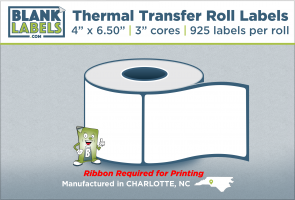 """4"""" x 6.50"""" Thermal Transfer Labels on 3"""" Cores"""