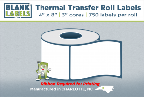 """4"""" x 8"""" Thermal Transfer Labels on 3"""" Cores"""