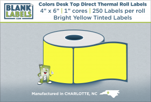 "4"" x 6"" Pastel Colors Direct Thermal Labels on 1"" Cores"