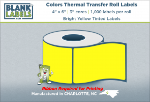 "4"" x 6"" Pastel Colors Thermal Transfer Labels on 3"" Cores"